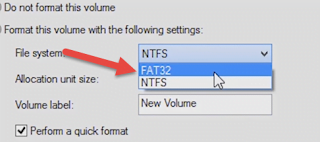 Choose File System: FAT32