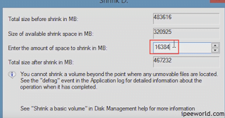Enter the Size to Shrink for new Partition