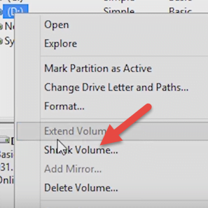 Select Partition and Shrink Volume