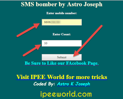 Add Phone Number and Number of SMS to Send